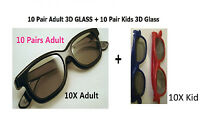 10 Pairs Adult +10Kids(gift)  Passive 3D Glasses work for VIZIO LG Passive 3D TV