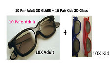 10 Pairs Adult +10Kids(gift)  Passive 3D Glasses work for VIZIO LG Passive 3D TV