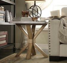 Industrial Zinc Top Weathered Oak Trestle End Table Nightstand Rustic Sleek