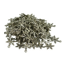 100pcs Snowflake Charms DIY Beads Vintage Necklace Bracelet Christmas Crafts