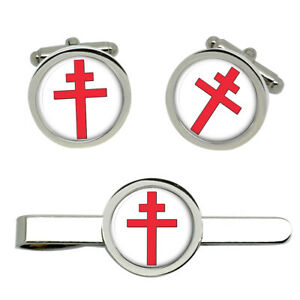 Cross of Lorraine Christian Cufflinks and Tie Clip Set