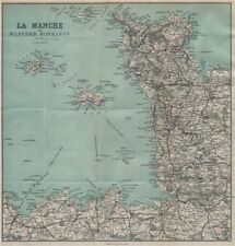 Manche. cotentin peninsula. îles anglo-normandes. st malo 1913 old antique map