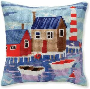 """Chunky Cross Stitch Cushion Front Kit Collection D'Art  """"Serene Harbour"""" 40x40cm"""