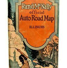 1929 ILLINOIS - Rand McNally Auto Road Map Motor Travel Indian Coca Cola Chicago