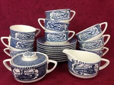 Currier and Ives China Set of 9 Cups & Saucers Plus Creamer & Lidded Sugar