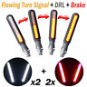 4Pcs Motorcycle Sequential Flowing LED Turn Signal Indicator + DRL + Stop Light