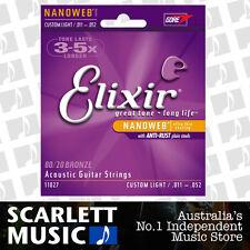 Elixir 11-52 Custom Light Coated 80/20 11027 Acoustic Guitar Strings