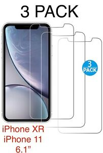 3 Pack Screen Protector For iPhone XR iPhone 11 Tempered Glass Protectors Cover