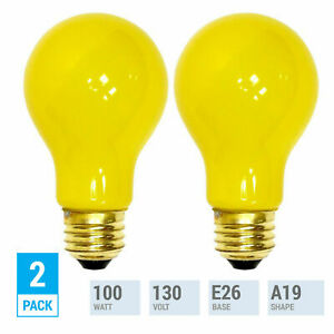 2 Pack YELLOW BUG LIGHT BULB 100W Watt A19 Medium E26 130V Incandescent 100A/YB
