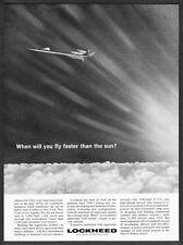 1963 Lockheed Supersonic Transport Illustration faster than the sun print ad