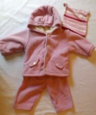 Baby Gap 3-6 mos pink 3-piece hat, hooded jacket  and pants polyester EUC