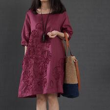 Korean Womens Casual Summer Solid Loose Cotton +Linen Sundress Shirt Tunic Dress