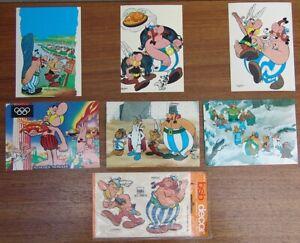 #4374 - 5 Alte ASTERIX & Obelix Grobbel Postkarten + 70s Aufkleber