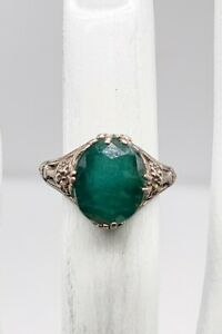 Antique 1920s $2400 6ct Colombian Emerald Sterling Silver Filigree Ring