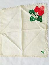 Antique Vintage Irish Linen Hankie Handkerchief Shamrocks wedding