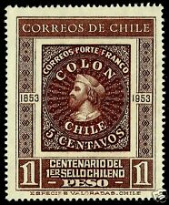 CHILE, CENTENARY OF THE FIRST CHILEAN STAMP, COLUMBUS, COLON, MNH