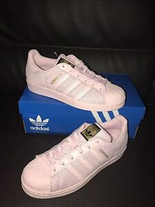 New Adidas Trefoil Superstar Original 3 Leather Stripes Pink Glow Sneakers 7 Y