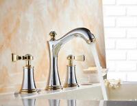 Bathroom Swivel Bath Tub Tap Mixer Deck Mounted Chrome Gold Basin Sink Faucet