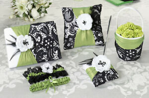 Lillian Rose Flower Basket, Ring Pillow, Garters & Guest Book (Green & Black)...