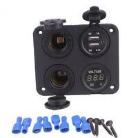 Dual USB Car Charger Adapter Digital Voltmeter 2 Power 12V Socket 4 Hole Panel