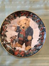 """Franklin Mint Heirloom Collection 8"""" Plate Teddy's Winter Fun by Sarah Bengry"""