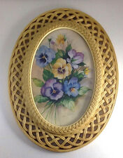 """Vtg Homco Pansy Print by Fran Anderson offwhite Oval Faux Wicker Frame 17"""" x 13"""""""