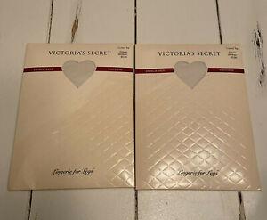 VTG NEW 2 Victoria's Secret Lingerie for Legs Cream Control Top Panty Hose M
