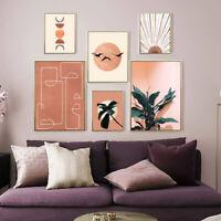 Moon Botanical Abstract Wall Art Painting Boho Canvas Poster Modern Home Decor