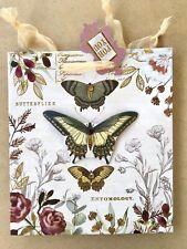 Punch Studio M Gift Bag Butterflies Floral 3D Embellished +Tissue