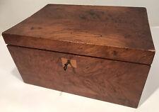 Antique English Burled Wood Jewelry Box Victorian W/Secret Drawer 13x9x7� W/Key