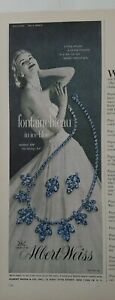 1956 Albert Weiss fontainebleau blue necklace earrings vintage jewelry ad