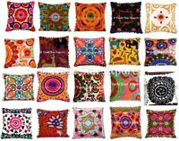 """Indian Suzani Ethnic Cushion Cover Vintage 16X16"""" Embroidery Square Pillow Cases"""