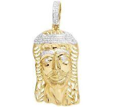 "Men's 10K Yellow Gold Genuine Diamond Jesus Face Pendant Charm 2/5 CT 2"""