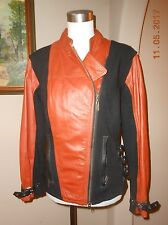 HARLEY DAVIDSON Leather Black Orange Moto Motorcycle Jacket Size Medium M