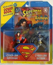 SUPERMAN Man Of Steel FIGURES 2 Pk CYBER-LINK BATMAN & SUPERMAN 1995 Kenner MOC