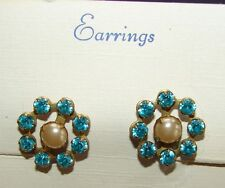 Vintage Earrings - Pearl Coated Screw Back Earring with Turquoise Stones