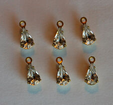 VINTAGE 6 TEAR DROP PEAR SHAPE GLASS PENDANT BEADS CLEAR SMALL • 8x5mm • BRASS