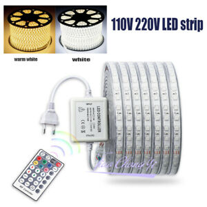 110V 220V 5050 RGB LED strip light with Remot controller white light with Plug