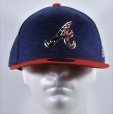 New Era MLB 4th July Red White Blue 59FIFTY Atlanta Braves Fitted Hat Cap 7 3/8