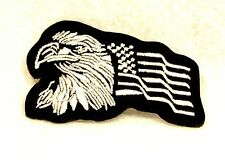Eagle and flag White on black Small Badge for Biker Vest Motorcycle Patch