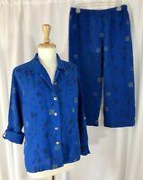 CHICO'S DESIGN Sz 1 & 2 Linen 2 Pc Blouse Top Shirt M & Pants L Outfit Set Blue