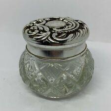 Avon Small Silver Lid Bottle Vintage Empty Diamond Cut Glass