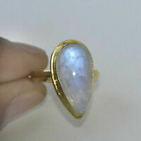 Pear Rainbow Moonstone Gemstone Silver Yellow Gold Handmade Gift Ring