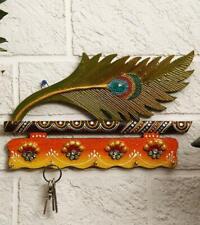 Beautiful Mor Pankhi Wooden Key Holder (9IN x 14 in)