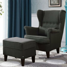 Dark Grey Wing Back Reading Relaxing Armchair & Ottoman Set with Wood Legs Home