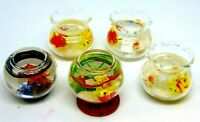 1:12 Scale Filled Glass Gold Fish Bowl Tumdee Dolls House Miniature Garden ML