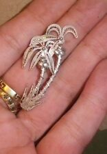 Antique 950 Brittania Silver Signed Tropical Trees Brooch- NZ Estate