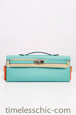 Hermes Kelly Cut Clutch Pochette in Blue Atoll Swift with Palladium HW BNIB