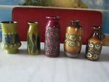 5 Strehla Vasen Keramik DDR FAT LAVA Mid Century Vintage Vase