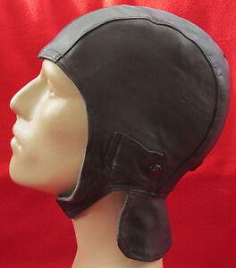 OLD VINTAGE LEATHER MOTORBIKE MOTORCYCLE CAP HAT